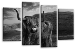 Wall Art Canvas Picture Print Scottish Highland Cow Stag Sepia Grey White 44 x27