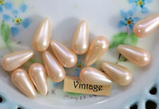 Vintage One Hole Beads Lucite Teardrop Pink Japan Pearl NOS 1 hole Shabby #1264M