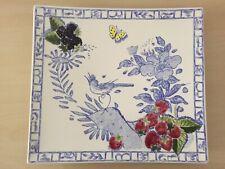 RARE superbe GRAND PLAT faïence signée GIEN décor OISEAU BLEU 29,5 x 26,5cm