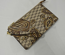 NWT Michael Kors Daniela Large Heritage Paisley Clutch/Wristlet in Luggage Brown