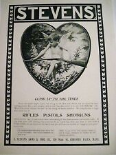 Vintage Ad Card w/ Cupid Holding a Gun for J. Stevens Arms & Tool Co. *