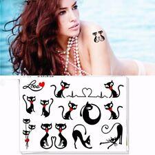 Tatoo tatouage éphémère chats amoureux noir rouge kawaï manga coloris argent