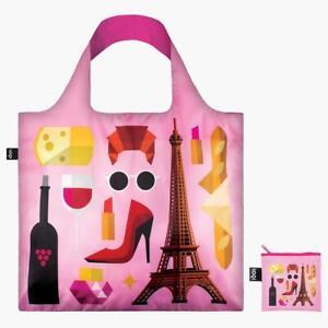 pink LOQI Tote Bag - Hey Paris - Reusable Bag Shopping, Beach, Travel, Students