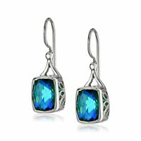 Natural Blue Caribbean Quartz Drop Earrings in Sterling Silver