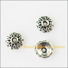 60Pcs Tibetan Silver Tone Tiny Flower End Bead Caps Connectors 6mm