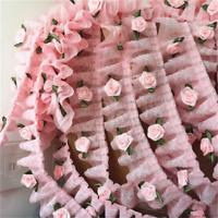 1 Yard 5cm Pink Rose Flower Ruffle Lace Trim Chiffon Pleated Ribbon Crafts UK