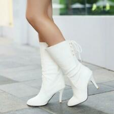 Women Classic Lace Up Mid Calf Boots High Heel Cuffed Boots Plus Size Date Shoes