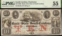 1861 $10 DOLLAR BILL SOUTH CAROLINA BANK NOTE LARGE CURRENCY PAPER MONEY PMG 55