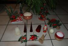 Lot d'articles de Noël rouges et dorés : montages, vasques , bougies...