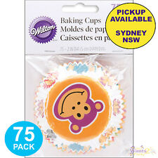 JUNGLE SAFARI ANIMALS 75pk WILTON CUPCAKE BAKING CUPS MONKEY LION PATTY PANS