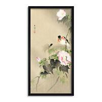 Ohara Koson Bird and caterpillar Long Framed Art Print