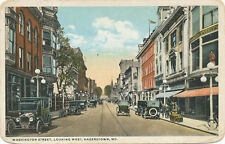Hagerstown MD * Washington St. Looking West c1908 * Lots of Old Cars