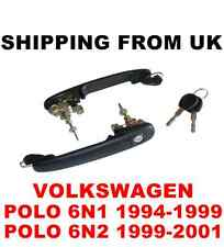 2 HANDLES + DOOR LOCK SET FRONT LEFT RIGHT 2 SAME KEYS VW POLO MK3 6N1 6N2 56mm