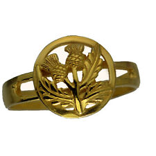 Look 24kt gold plated over real Sterling Silver Celtic Thistle shamrock Ring