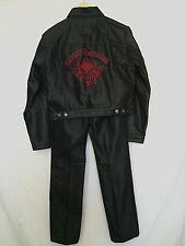 Harley-Davidson Womens Suit Black Jacket Small Pants Sz 2 Pants Red Embroidery
