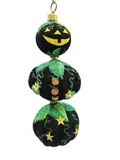 Patricia Breen Halloween Tree Ornament Black Kinetic PumpkinMan Fully Glittered
