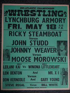 Vintage Mid Atlantic Championship Wrestling Event Poster Ricky Steamboat NWA WWE