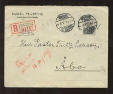 FINLAND 1927 REGIST.COVER LION 3M SOLO FRANKING to FRITZ LARSSON