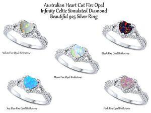 Fire Opal Heart Cut Promise Infinity Celtic Birthstone Sterling Silver Ring