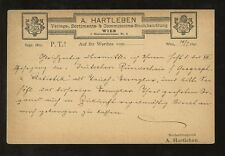 STATIONERY AUSTRIA 1890 ADVERTISING PRIVATE PRINTED A HARTLEBEN...VFU