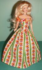 Orange & Pink Floral Gown with Green Stripes  Barbie & Teen Skipper Doll MS107