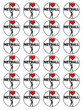 "x24 1.5"" I Love Netball Birthday Cupcake Topper Decoration On Edible Rice Paper"