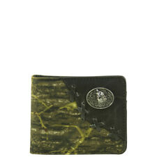 WEST WOLF USA BLACK WESTERN VEGAN LEATHER CAMO WOLF EMBLEM MENS BIFOLD ID WALLET