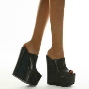 Women's Sexy Wedge High Heels Peep Toe Platform Shoes Summer Black Slippers Club