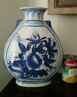 Vintage Satsuma Porcelain Vase Cobalt Blue Hand Painted SIGNED