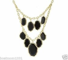 QVC Shoshanna Double Strand Freeform Shape Black Acrylic Bib Statement Necklace