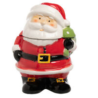 "Santa Claus 7.5"" Ceramic Holiday Small Cookie Jar Christmas Candy Dish Red White"