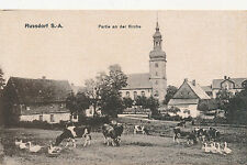 AK, Ansichtskarte, Russdorf S.-A. Partie an der Kirche (G)1808