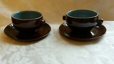 Denby Homestead Brown Soup Bowl and stand x 2