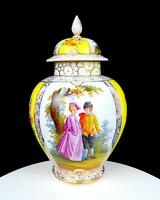 "DRESDEN PORCELAIN HELENA WOLFSOHN COURTING COUPLE GILT 12 3/8"" LIDDED TEMPLE JAR"