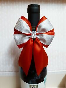 1 x wine bottle bow topper with loop decorative bow red silver 9 x 14 cm