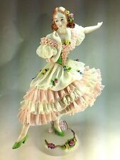 "1920'S LARGE SITZENDORF Dresden Lace German Porcelain Figurine ""THE DANCER"""