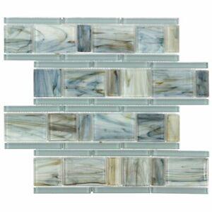 Modern Modular Blue Beige Glossy Glass Mosaic Tile MTO0506