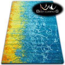 Épais Moderne Tapis 'Peinture' Original Bleu Coloré Pour Enfants Pas Cher