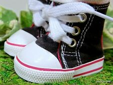 "BLACK Hi Top Canvas DOLL SNEAKERS Tennis SHOES fits 18"" AMERICAN GIRL DOLL"
