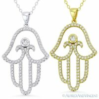 Hamsa Hand of Fatima Evil Eye Luck Charm 925 Sterling Silver CZ Pendant Necklace