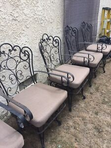 Quality set of 8 Heavy Iron Patio Garden Arm Chairs all With Swivel Base