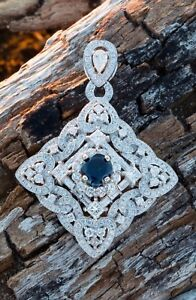 7.44ct E VS 18k Diamond & Sapphire Pendent 100% natural no treatment