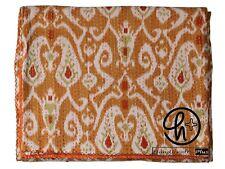 Cotton Handmade Kantha Quilt Bohemian Bedspread King/Twin Size Ralli Brown Throw