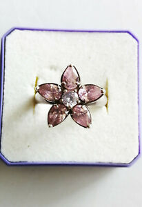Sterling silver pink cz daisy flower ring, floral ring UK size O US 7.25 4.6g