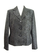 Le Suit Womens Metallic Dress Jacket Silver Black Career Holiday Party Size 12
