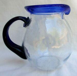 COBALT BLUE & CLEAR..MEXICAN..HAND BLOWN GLASS..BALL..PITCHER  64OZ