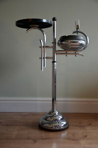 Awesome Art Deco Belgium 1920's Chrome Bakelite Ashtray Smoking Table By Demeyer