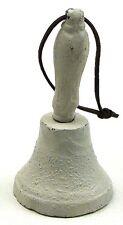 "Cast Iron Antique Style White Hand Bell Replica Sculpture Decor 5.5 x 3 x 3"""