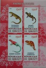 African fauna reptiles lizard salamander chameleon m/s Djibouti 2012 Mnh #H043