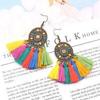 Womens Colorful Bohemian Vintage Long Tassel Fringe Boho Dangle Earrings Jewelry